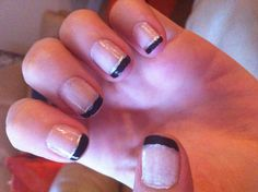 I decided to go where I've never gone....silver and black French tip mani! :)