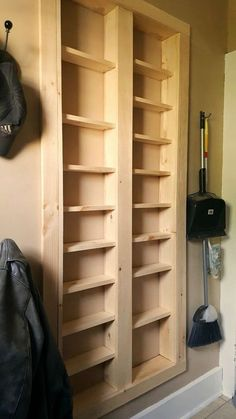 Home Improvement 475059460690851134 - Pantry between the studs – Are you short on kitchen storage? This DIY Pantry Between the Studs adds TONS of useful storage and it's not hard to make. Source by easeyourasthmatips Kitchen Pantry Storage, Built In Pantry, Laundry Room Storage, Diy Storage, Storage Ideas, Wall Pantry, Kitchen Shelves, Extra Storage, Laundry Rooms