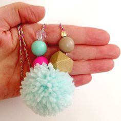 Puffy Pom Necklace Mint and Pink by thedoobobshop on Etsy