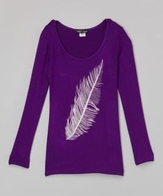 This Purple Feather Tunic - Girls by Lori & Jane is perfect! #zulilyfinds
