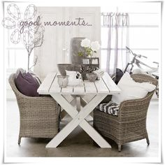 Love the look of this rustic table indoors or outdoors on a porch or patio.