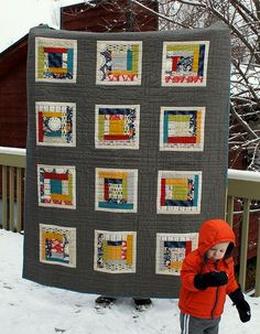 PJ and Danielles quilt by Spotted Stone Studio {Krista}, via Flickr • love the colors and wide gray sashing