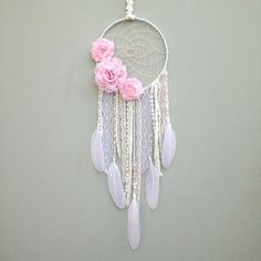 Pink and White Dreamcatcher with Pink Flowers // White Dream by InspiredSoulShop - PERFECT for Window