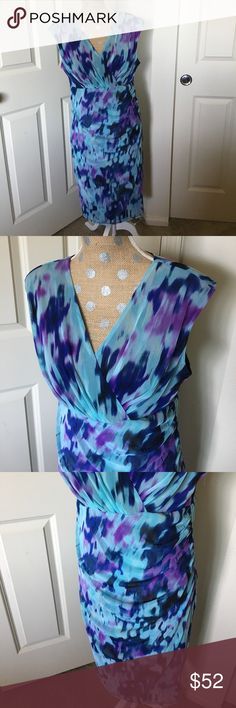 Beautiful mesh overlay dress NWOT! Beautiful mesh overlay dress, fully lined. Shades of blue and purple. London Times Dresses Midi