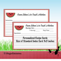 Recipe Card Printable - Custom - Personalized - DIY Recipe Cards - 4x6 Recipe Card - Bridal Shower Recipe Card - Bake Sale - Family Recipe by BlissfulSalutations on Etsy
