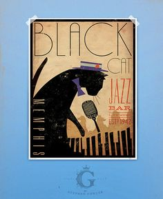 Hey, I found this really awesome Etsy listing at https://www.etsy.com/listing/113704334/black-cat-piano-jazz-bar-artwork