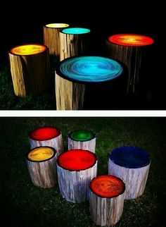 Paint wooden logs with glow in the dark paint.