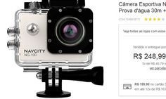 Câmera Esportiva Navcity NG-100 Prata 12MP Full HD  Case à Prova d'água 30m  Selfie Stick << R$ 19990 em 12 vezes >>