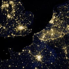 The city lights of Europe and Asia.