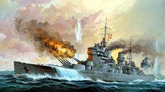 ship wallpaper for desktops - ship category Pearl Harbour Attack, Hms Prince Of Wales, Hms Ark Royal, Capital Ship, Ship Paintings, Ship Art, Military Art, Royal Navy, War Machine