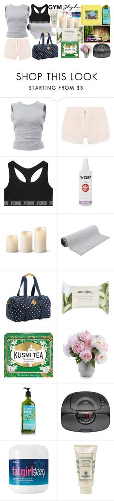 """""""Work It Out: Gym Essentials contest"""" by xxunicorn-loverxx ❤ liked on Polyvore featuring T By Alexander Wang, Boohoo, Victoria's Secret, Manduka, Improvements, No Ka'Oi, PBteen, Forever 21, Kusmi Tea and New Growth Designs"""