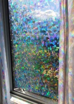 "Decorative Window Film Holographic Prismatic Etched Glass Effect - Fill Your House with Rainbow Light 24"" X 36"" Panels"