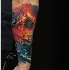Amazing artist Levgen Knysh @levgen_eugeneknysh volcano forearm tattoo! @worldofartists @sullenclothing ...