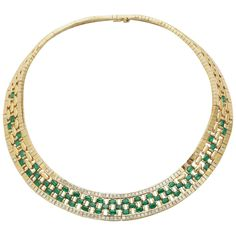 Emerald Diamond Gold Woven Necklace | From a unique collection of vintage link necklaces at https://www.1stdibs.com/jewelry/necklaces/link-necklaces/