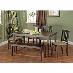 6 Pc Dining Room Piece Set Table and Chairs with Bench Contemporary Kitchen