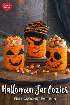 Halloween Jar Cozies free crochet pattern in Super Saver yarn. These friendly faces will add a festive note to your Halloween d& Fill them with sweet treats, liquid spirits or utensils on your party buffet table. Halloween Crochet Patterns, Crochet Toys Patterns, Amigurumi Patterns, Knitting Patterns, Holiday Crochet, Crochet Gifts, Crochet Faces, Crochet Bowl, Free Crochet