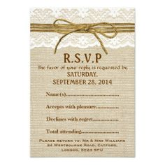 Ivory Lace & Rustic Twine Bow, Burlap RSVP Invites