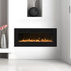 Clihome Flame 42 in. Wall-Mounted Automatic Constant Temperature Electric Fireplace Insert-EF42R - The Home Depot