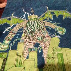"Found this cool #illustration of a #Cthulhu #robot by @alotapeople called ""C74u14u."" I think #Lovecraft would have enjoyed this #prismacolor #pen #coloredpencil and #marker #drawing... as soon as someone explained to him what a robot is anyway. Great work! #CreativeAirship"