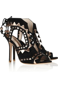 SOPHIA WEBSTER  Riko cutout suede and leather sandals
