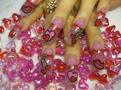 hearts kisses and cherries - Nail Art Gallery by nailsmag.com...