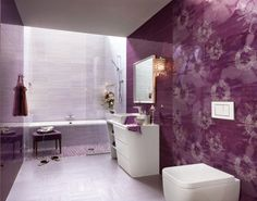 Purple And White Floral Bathroom