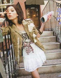 kiko mizuhara, military jacket, plaid, white skirt