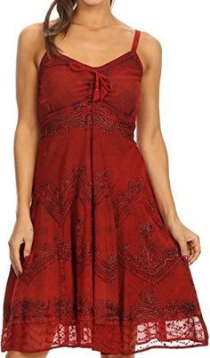 Sakkas 151304  Lacey Stonewashed Embroidered Silver Threaded Spaghetti Strap Dress  Red  1X2X *** For more information, visit image link.