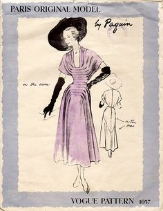 Paquin, Vogue 1057; ca. 1949; One-piece dress. Horizontal tucks release fullness in the bodice and drapery at each side of skirt front. Back of the skirt is bias; front crosswise. Skirt joins bodice at waist-line. Deep collarless neck-line. Short sleeves cut in one with bodice.