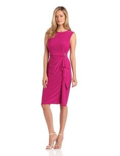 Jones New York Women's Cascade Drape Dress, Sangria, 16