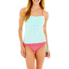 <p>Mix it up with our chevron print corsetkini swim top and pin dot hipster bottoms for the freshest look at the pool.</p>