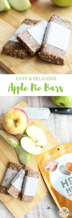 These Apple Pie Bars have the flavour of a big slice of fresh baked apple pie except they contain no butter or sugar and they only take 10 minutes to make! The Medjool dates make these bars deliciously sweet and the Hemp Hearts, walnuts, and almonds add a nice crunch.