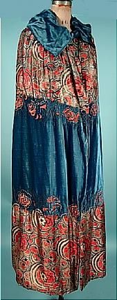 c.1915-1920 LORD & TAYLOR French Blue Silk Velvet and Floral and Gold Lame Deco Evening Cape.