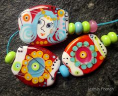 jasmin french  ' summer in the autumn of life ' lampwork bead set sra
