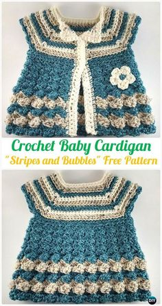 "Crochet Baby Cardigan ""Stripes and Bubbles"" Free Pattern - Crochet Kid's Sweater Coat Free Patterns"