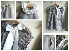 ... Tunique à noeud en coton gris à pois prune, noeud en popeline blanche, taille 8 ans... Robe à collerette double en popeline grise,...