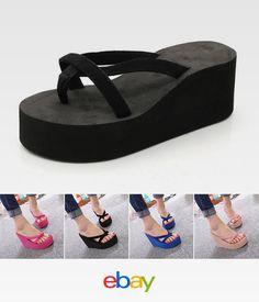 db46726b2 High Flops Platform Thong Heel Fashion Strap Flip Sandals 34-43 Wedge Beach