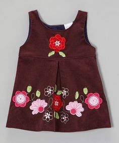Purple Embroidered Flower Corduroy Dress - Toddler & Girls by the Silly Sissy #zulily #zulilyfinds