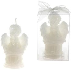 Baby Angel Sitting on Round Column Candle - White Case Pack 48