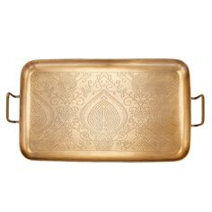 """The """"Tangier"""" Champagne finished tray will add warmth and style to any gathering. Beautifully etched with a design inspired by Moroccan art, this tray makes a decorative statement in your home. Ideal for serving a round of cocktails or offering hors Champagne, Serving Trays With Handles, Serving Platters, Moroccan Art, Tv Trays, Metal Trays, Garden Accessories, Tray Decor, Safe Food"""