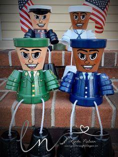 Decorate with Our U. Service Men in Dress Uniform. Handpainted Terra Cotta Pots by L. Flower Pot Crafts, Clay Pot Crafts, New Crafts, Diy Flower, Shell Crafts, Painted Flower Pots, Painted Pots, Hand Painted, Flower Pot People