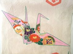 Japanese Vintage Silk Kimono Fabric - ORIGAMI CRANES. LOVE
