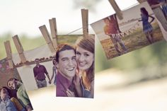 Clothesline with engagement pictures at wedding