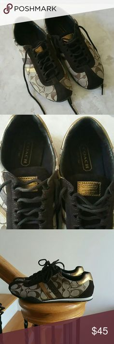 """Coach Sneakers Authentic Coach """"Katelyn"""" sneakers. Brown fabric with suede and """"leatherwear""""  Has gold accent design. Try on and carpet wear only. Like new condition. Coach Shoes Sneakers"""