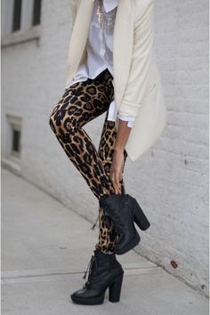 black boots  ivory blazer  leopard print tights  white top blouse
