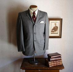 60s MOD 3 Button Suit Gray Mens Vintage Suit by TheNakedManVintage - vintage men's clothing