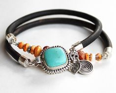 Coral and Turquoise silver bracelet - leather turquoise coral spiny oyster wrap bracelet bangle by ChickpeaDesignStudio on Etsy https://www.etsy.com/listing/169521265/coral-and-turquoise-silver-bracelet