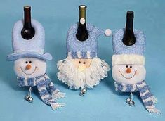 Holiday Doorknob hangers over the top of a wine bottle Christmas Clay, Christmas Ornaments To Make, Halloween Christmas, Blue Christmas, All Things Christmas, Christmas Holidays, Christmas Crafts, Wrapped Wine Bottles, Xmas Decorations