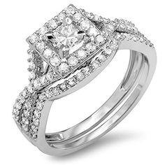 100 Carat ctw 14K White Gold Princess  Round Diamond Ladies Engagement Ring Set 1 CT Size 65 -- Click on the image for additional details.(This is an Amazon affiliate link)