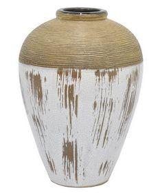 Look at this #zulilyfind! White Cracked Ceramic Vase #zulilyfinds